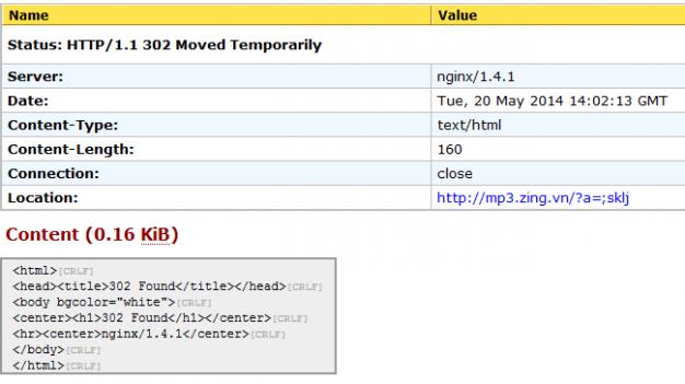 Zing Mp3 sử dụng server NghinX