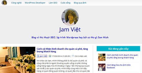 Blog của Jam Việt làm bằng WordPress