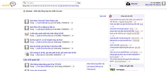 Trang diễn đàn khá nổi tiếng Maxitalk.net cũng làm bằng WordPress