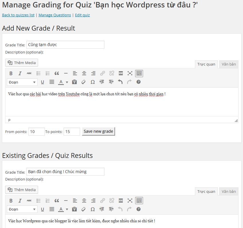 Grades - xếp hạng người tham gia trả lời bằng thứ hạng