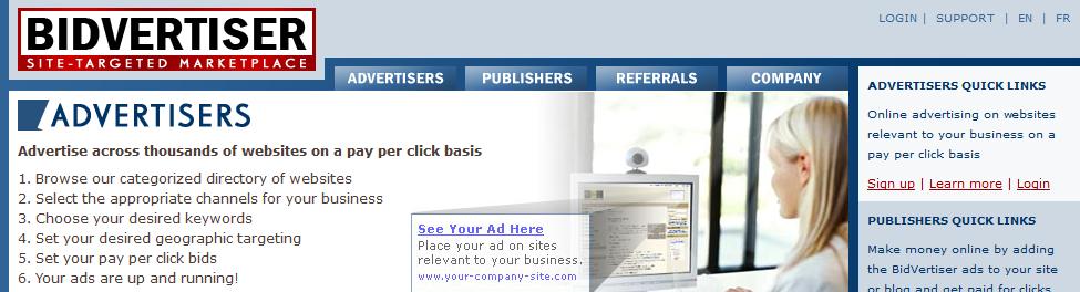 Trang web BidVertiser