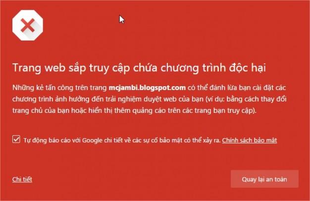 Thông báo lỗi bảo mật của một website