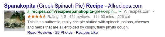 Snippet khai báo là công thức nấu ăn sẽ có ảnh đại diện