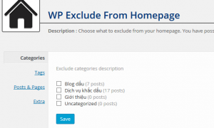 Giao diện cài đặt của WP Exclude From Homepage