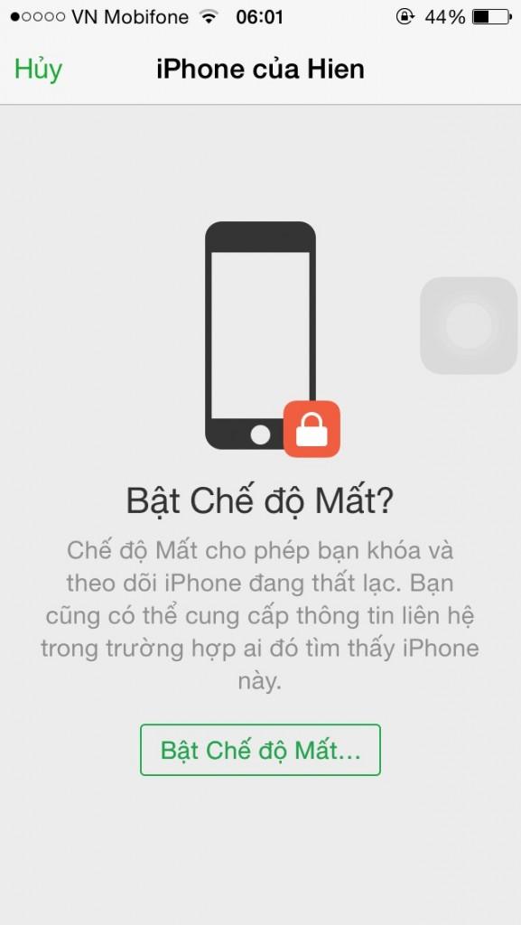 Đầu tiên, bấm bật chế độ mất của Iphone