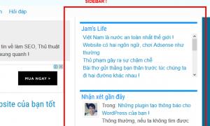 Sidebar trên blog Jam Việt
