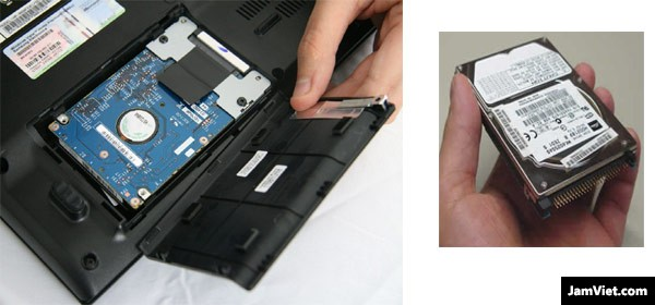 Ổ cứng laptop nằm ở dưới máy