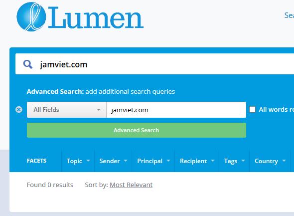 Tìm kiếm thông tin vi phạm bản quyền trên trang