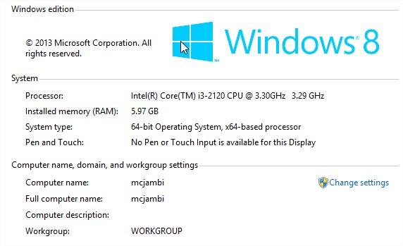 Hệ điều hành đã nhận đủ RAM