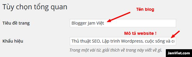 Cài đặt tên blog và dòng mô tả
