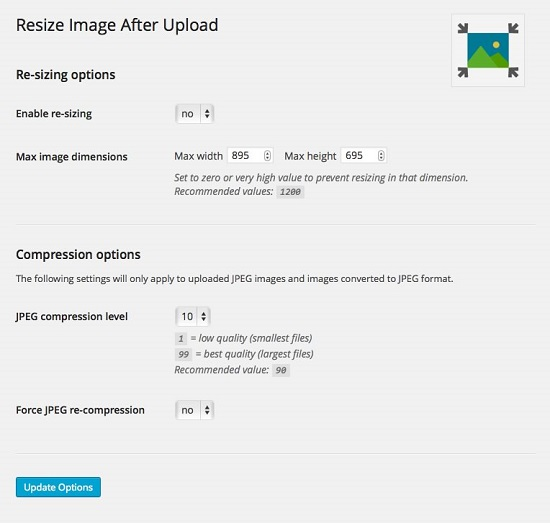 Cài đặt trong plugin Resize image After Upload