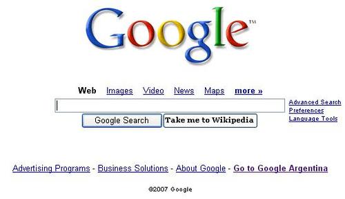 Giao diện Google năm 2007
