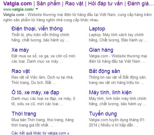 Google hiển thị sitelink tối đa 8 kết quả liên quan