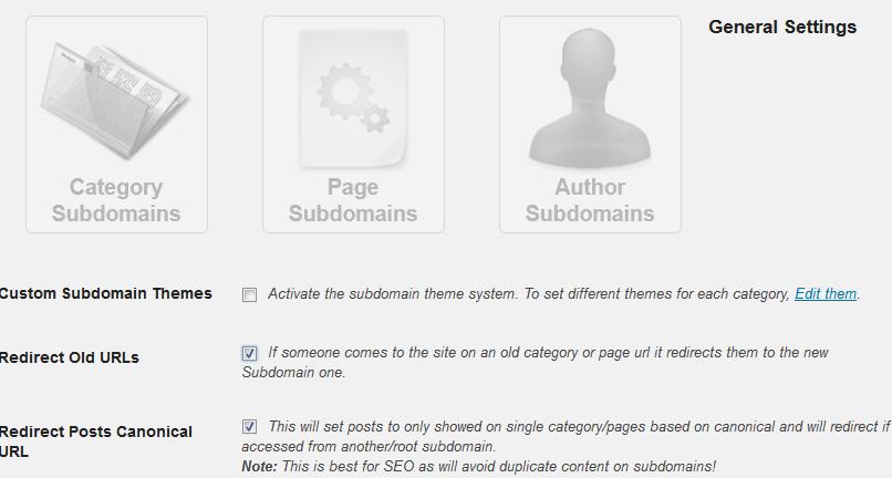 Cài đặt trong admin của plugin WP Subdomain
