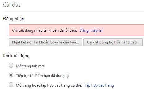 Tất cả Google Chrome đều bị đăng xuất, bạn phải đăng nhập lại