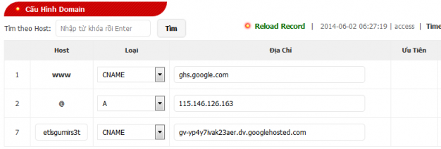 Cài đặt trong Domain để trỏ về blog của bạn