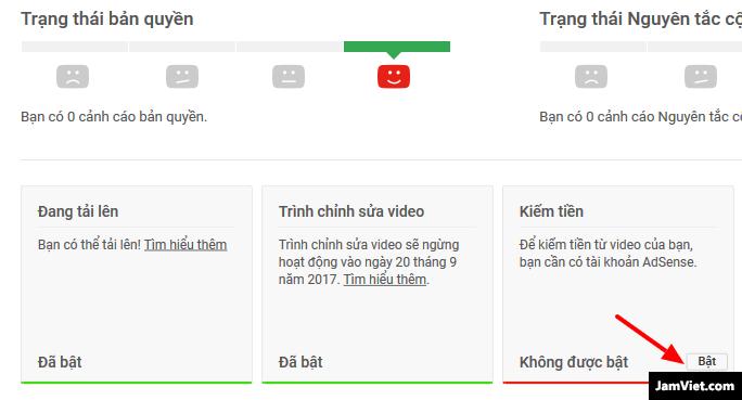 Kiểm tra tính năng kiếm tiền xem bật hay chưa trên YouTube