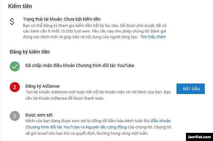 Các thông báo trên tab kiếm tiền YouTube