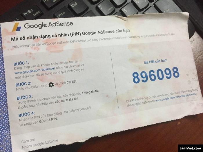 Phong bì chứa mã PIN Google Adsense