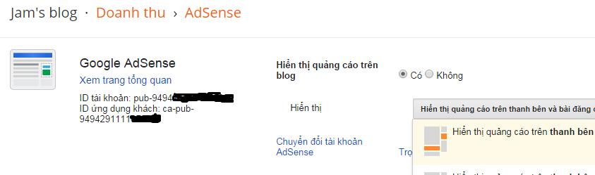 Cài đặt hiển thị quảng cáo trên blogger