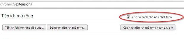 Bật chế độ dành cho nhà phát triển trên Google Chrome