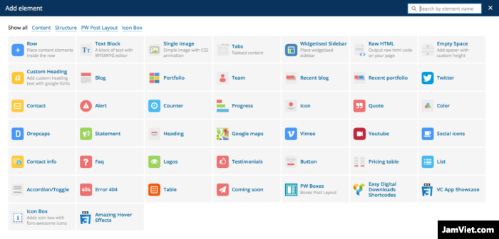 Visual Composer có cả đống lựa chọn hiển thị / chức năng / widget cho bạn chọn