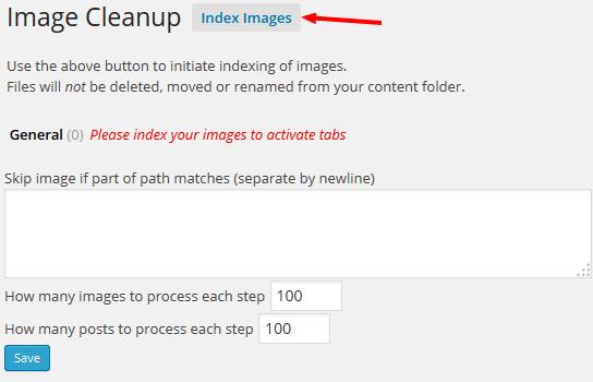 ImageCleanup - bước 1: Tạo index cho chúng bằng cách click vào nút Index Images