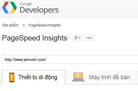 PageSpeed - Jamviet.com có số điểm thấp trung bình