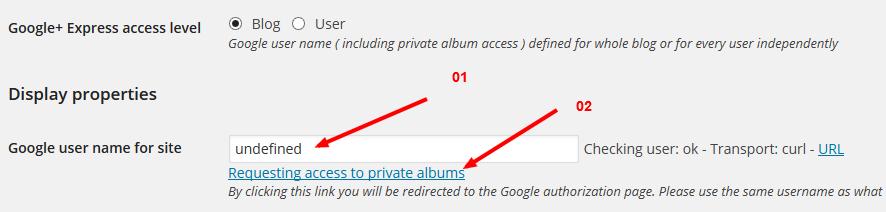 Cài đặt trong plugin lấy ảnh từ Google+ về
