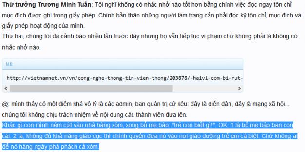 Một bạn trên diễn đàn Idichvuseo có trích dẫn lời của người cầm quyền về việc đã nhắc nhở Haivl