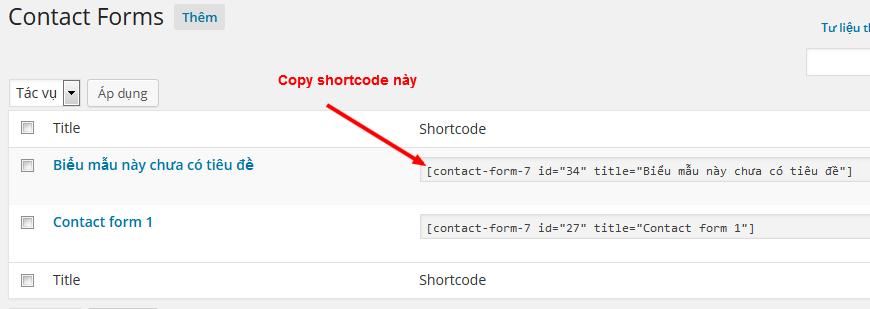 Copy đoạn shortcode mà chúng ta vừa tạo