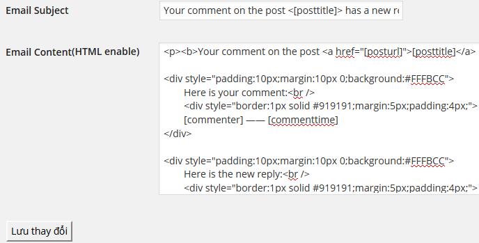 ReplyMe cho phép cấu hình template gửi thư