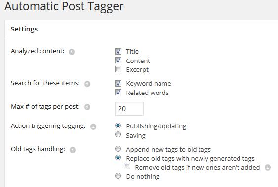Các lựa chọn cấu hình trong plugin Auto Tag