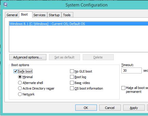 Bật Safeboot để hệ điều hành vào chế độ Safemode