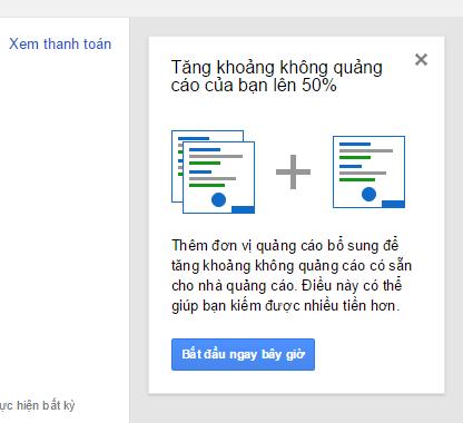 Google adsense cho phép tôi thêm vùng quảng cáo
