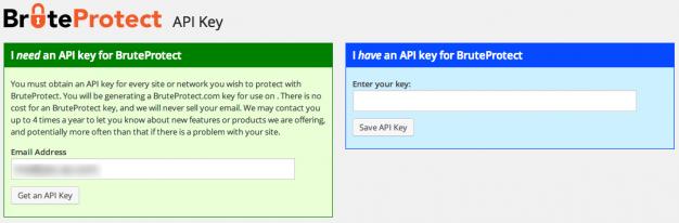 Lấy API key từ trang chủ của BruteProtect