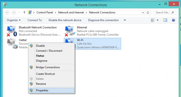Giao diện cài đặt Network Connection Setting