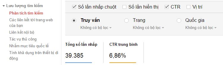 Tỉ lệ Ctr báo cáo trên Webmaster