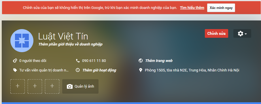 Tạo trang Google PLus sau đó