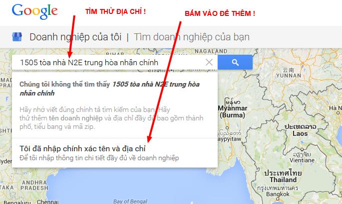 Search thử địa chỉ, sau đó click vào nút thêm mới