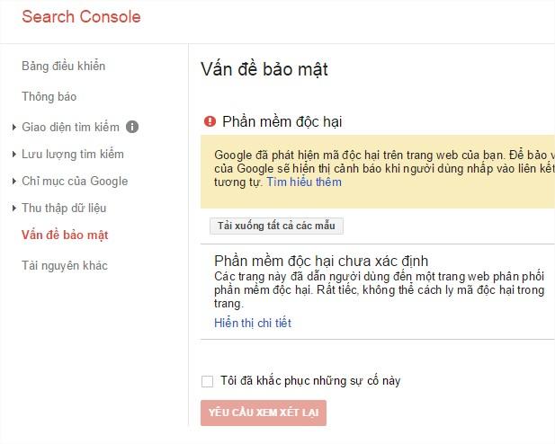 Thông báo có sẵn trong Google webmaster khi bạn đăng nhập