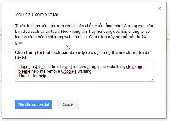 Nêu lý do với Google để xóa cảnh báo