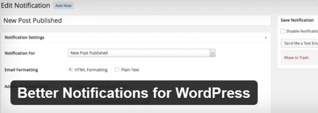 Plugin Better Notifications for WordPress
