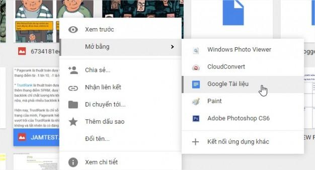 Chọn vào file, click chuột phải và chọn xem như Google Doc