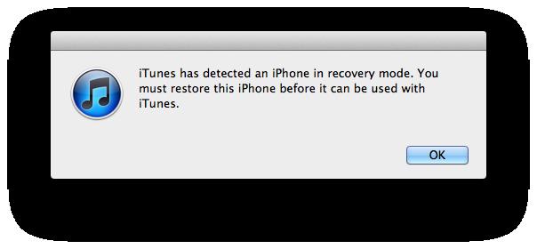 Itunes thông báo máy trong trạng thái Recovery mode