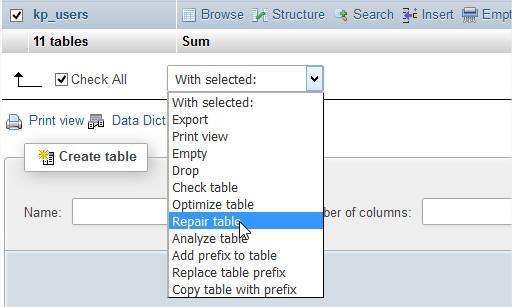 Chọn sửa các bảng trong cơ sở dữ liệu