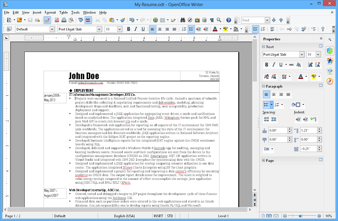 Giao diện OpenOffice writer