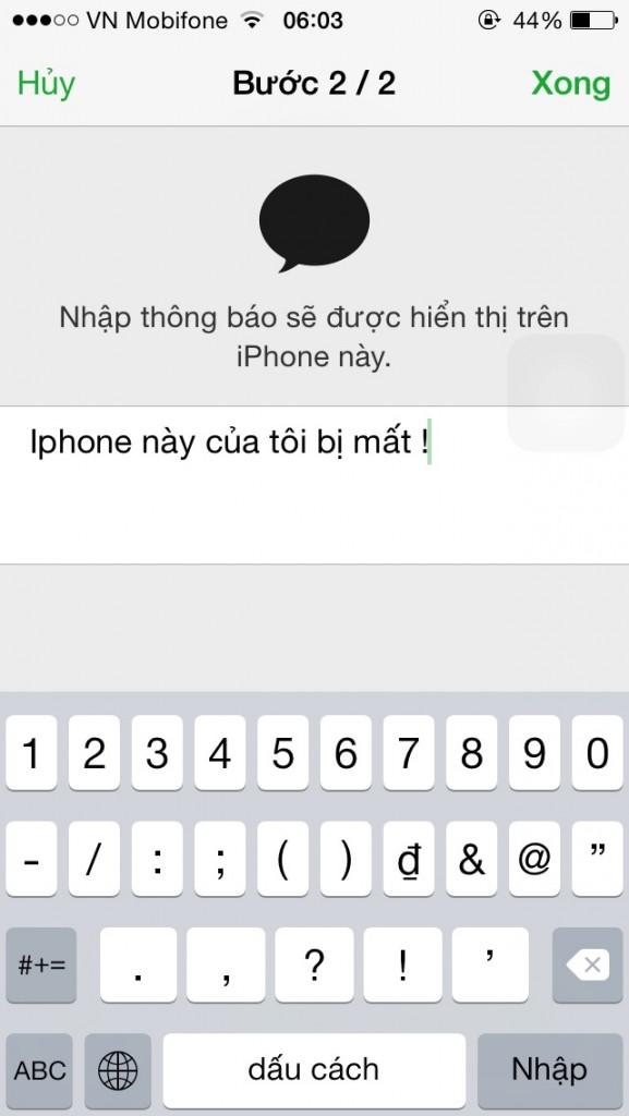 Cài đặt thông báo text cho thiết bị thất lạc