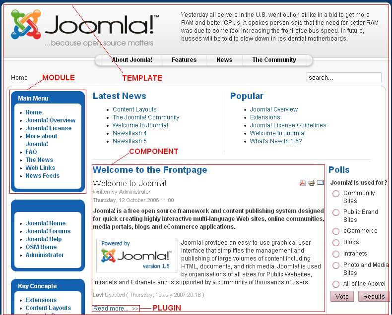 Mô phỏng Module, plugin trên giao diện mặc địnhc ủa Joomla 1.x