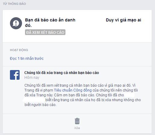 Facebook đã báo cáo lại là đã xóa tài khoản kia